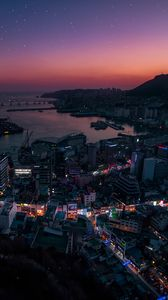 Preview wallpaper night city, aerial view, city lights, south korea