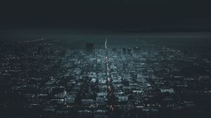 Preview wallpaper night city, aerial view, city lights, los angeles, usa