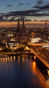 Preview wallpaper night city, architecture, bridge, cologne, city lights