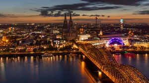 Preview wallpaper night city, architecture, bridge, cologne, city lights
