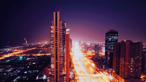 Preview wallpaper night city, architecture, city lights, dubai, united arab emirates