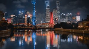 Preview wallpaper night city, buildings, river, lights, reflection
