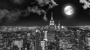 Preview wallpaper night city, bw, full moon, new york, usa