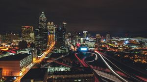 Preview wallpaper night city, city lights, aerial view, night, architecture