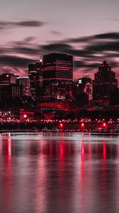 Preview wallpaper night city, city lights, buildings, shore, night