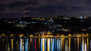 Preview wallpaper night city, city lights, coast, reflection, istanbul, turkey