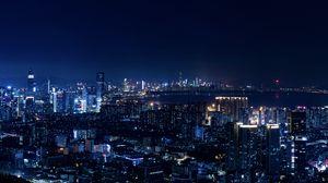 Preview wallpaper night city, city lights, metropolis, night