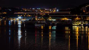 Preview wallpaper night city, city lights, night, istanbul, turkey, coast