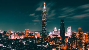 Preview wallpaper night city, city lights, skyscrapers, top view, taiwan