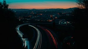 Preview wallpaper night city, long exposure, road, horizon