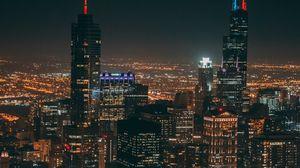 Preview wallpaper night city, metropolis, aerial view, buildings, skyscrapers