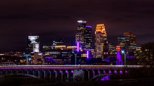 Preview wallpaper night city, panorama, architecture, city lights, minnesota