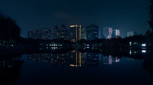Preview wallpaper night city, panorama, river, reflection, buildings