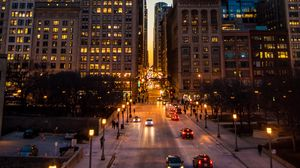 Preview wallpaper night city, road, city lights, traffic, buildings, architecture, street