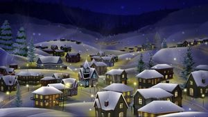 Preview wallpaper night, city, snow, christmas, holiday