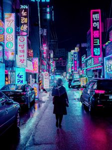 Preview wallpaper night city, street, umbrella, man, signboards, lighting, neon