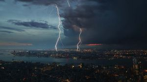 Preview wallpaper night city, thunderstorm, top view