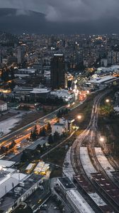 Preview wallpaper night city, top view, buildings, railway