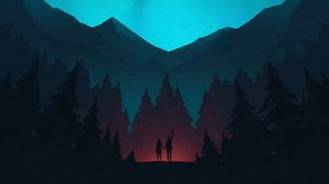 Preview wallpaper night, forest, mountains, starry sky, silhouettes, art