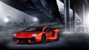 Preview wallpaper night, lights, aventador, columns, bridge, lamborghini, orange, city