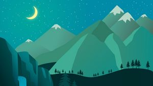 Preview wallpaper night, moon, waterfall, mountains, art