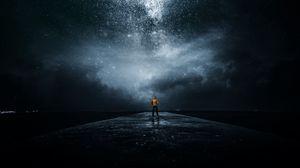 Preview wallpaper night sky, man, stars, milky way