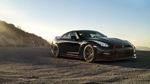 Preview wallpaper nissan, gt-r, black, side view