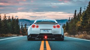 Preview wallpaper nissan gt-r, nissan, car, rear view, marking, road, asphalt