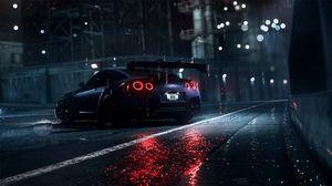 Preview wallpaper nissan gt-r, nissan, sportscar, supercar, night, asphalt, wet, rain, backlight