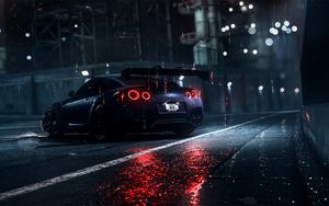 Preview wallpaper nissan gt-r, nissan, sportscar, supercar, night, asphalt, wet, rain, backlight