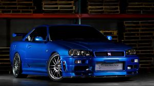 Preview wallpaper nissan skyline, gtr, r34, blue, front view