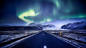Preview wallpaper northern lights, aurora, road, marking, mountains, snow