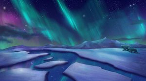 Preview wallpaper northern lights, polar bears, bears, ice, cranny, art