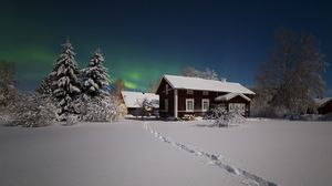 Preview wallpaper northern lights, winter, snow, house, trees