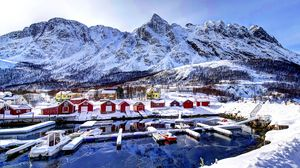 ... Preview wallpaper norway, mountains, buildings, bay, winter, snow