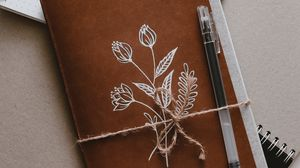 Preview wallpaper notebook, pen, flowers, paper