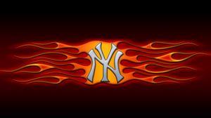 Preview wallpaper ny, logo, flames, orange, black
