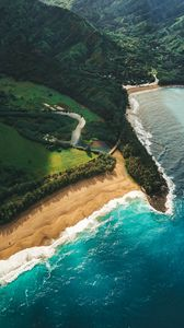 Preview wallpaper ocean, beach, aerial view, kauai, hawaii