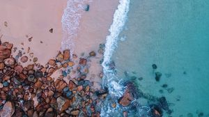 Preview wallpaper ocean, beach, aerial view, sand, stones, surf, foam