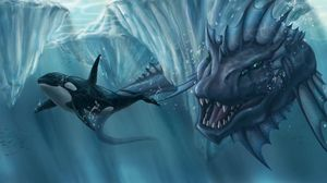 Preview wallpaper ocean, glaciers, whale, creature, mouth