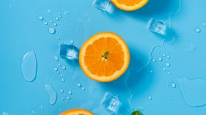 Preview wallpaper orange, ice, mint, citrus, rings, melting