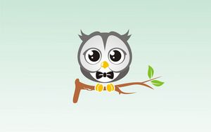 Preview wallpaper owl, art, branch, bow tie