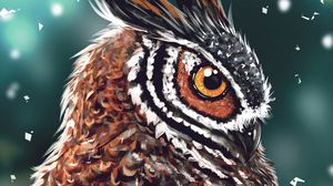 Preview wallpaper owl, bird, art, head, eye, beak