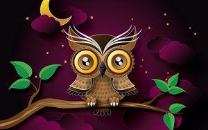 Preview wallpaper owl, bird, art, branch