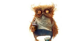 Preview wallpaper owl, coffee, alarm clock
