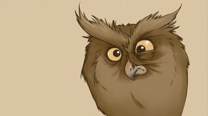 Preview wallpaper owl, eyes, surprise, drawing