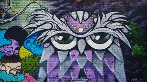 Preview wallpaper owl, graffiti, art, wall, street art