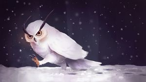 Preview wallpaper owl, snow, art, snowfall, steps