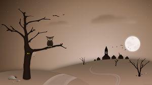 Preview wallpaper owl, tree, bird, night, art