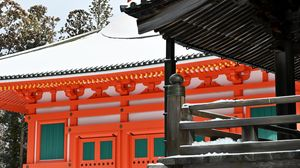 Preview wallpaper pagoda, building, architecture, snow